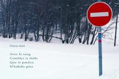 Panneau de sens interdit, Mont Salève, Haute-Savoie. Poème sur le suicide.