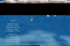 Gouttes, fondant de la neige, sur une balustrade. La vallée est visible dans la goutte. Poème sur la rondeur d\'une larme.