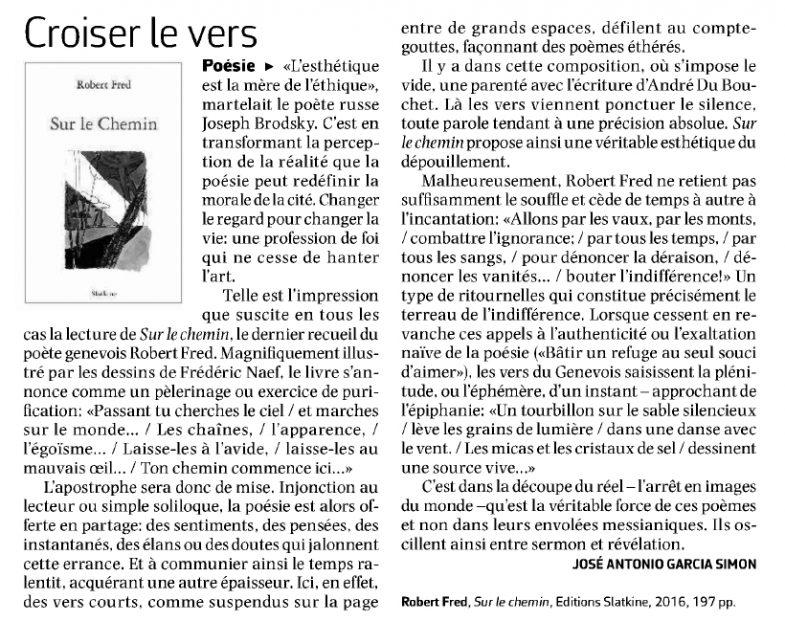 Article paru dans Le Courrier le 6 janvier 2017